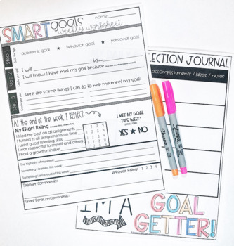 SMART goal setting forms, poster, flipbook, reflection journal, bulletins!