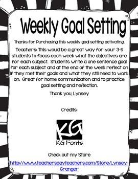 Weekly Goal Setting