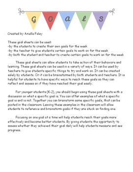 Weekly Goal Setting Forms