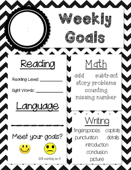 Weekly Goal Setting Sheets