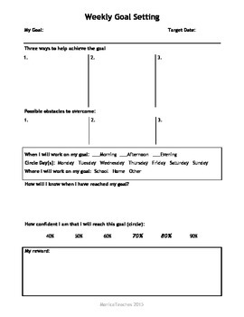 Weekly Goal Setting for teachers and students