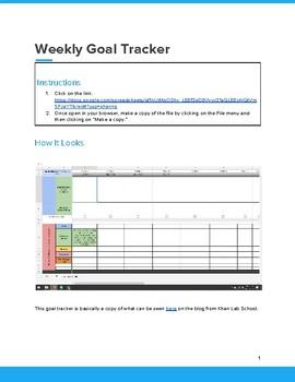 Weekly Goal Tracker on a Google Sheet