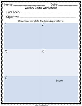 Weekly Goals Worksheet
