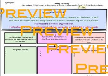 Weekly Goals Sheet - Hydrosphere Week 1