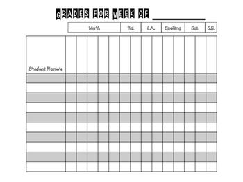 Weekly Grade Recording Form