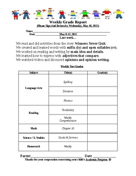 Weekly Grade Report (Editable)