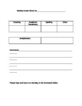Weekly Grade Sheet