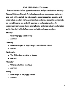 Weekly Grammar Bellringer Prompts with Questions