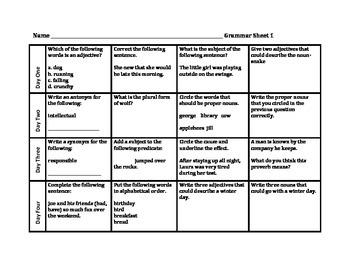 Weekly Grammar Homework