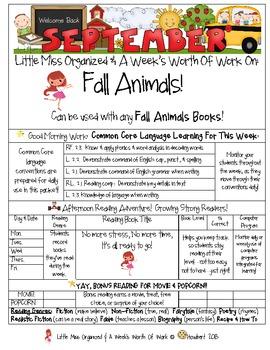 Weekly Grammar & Language:  Fall Animals!