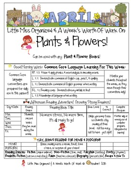 Weekly Grammar & Language Flowers & Plants Packet