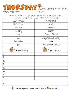 Weekly Grammar & Language Gingerbread Packet