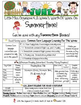 Weekly Grammar & Language Summertime Packet