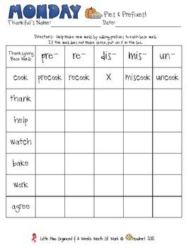 Weekly Grammar & Language Thanksgiving Packet