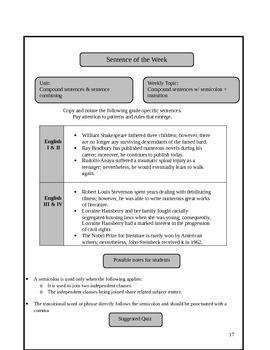 Weekly Grammar Lessons: Sentence a Week Model