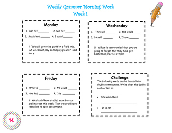 Weekly Grammar Morning Work