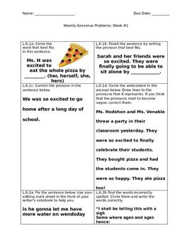 Weekly Grammar Sheet #1