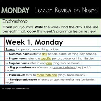 EDITABLE Weekly Grammar Warm Up - Parts of Speech Review