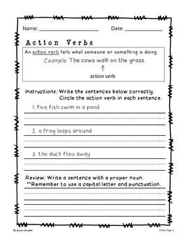 Weekly Grammar Writing - Regular Verbs