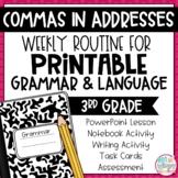 Grammar Third Grade Activities: Commas in Addresses