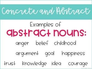 Grammar Third Grade Activities: Concrete and Abstract Nouns
