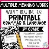 Grammar Third Grade Activities: Multiple Meaning Words