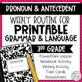 Grammar Third Grade Activities: Pronoun & Antecedent Agreement
