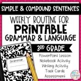 Grammar Third Grade Activities: Simple & Compound Sentences