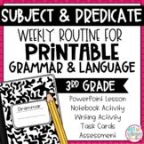 Grammar Third Grade Activities: Subject & Predicate