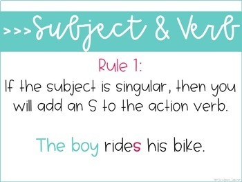 Weekly Grammar and Language Activities: Subject and Verb Agreement