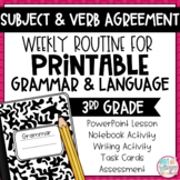 Grammar Third Grade Activities: Subject and Verb Agreement