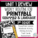 Grammar Third Grade Activities: Unit 1 Review