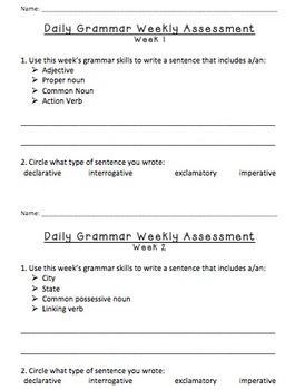 Weekly Grammar/Sentence Assessments