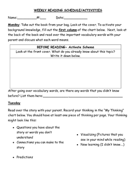 Weekly Guided Reading Homework