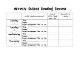 Weekly Guided Reading Homework Page