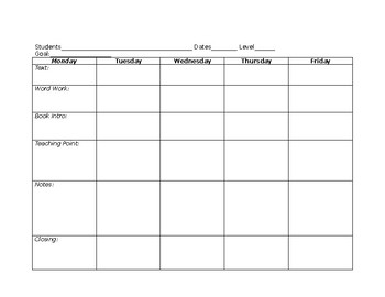 Weekly Guided Reading Lesson Plan Template- Editable