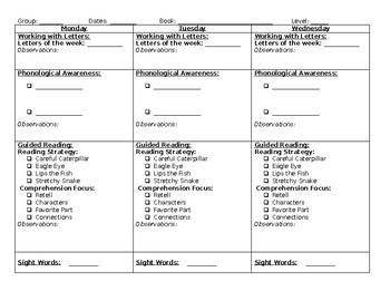 Weekly Guided Reading Plan for Emergent Readers