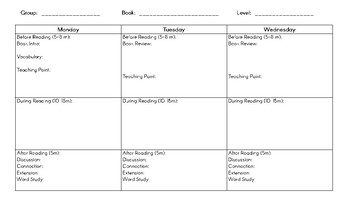 Weekly Guided Reading Planning Template