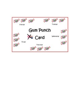 Weekly Gum Punch Card