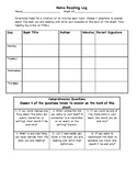 Weekly Home Reading Log with Comprehension Questions