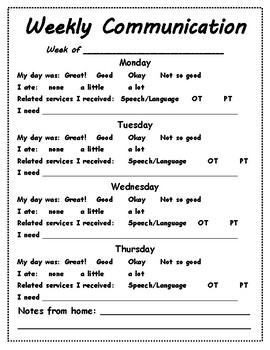 Weekly Home School Communication Sheet