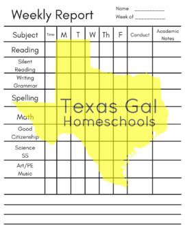 Weekly Homeschool Subject Chart Checklist - Academic Homeschool Record Keeping