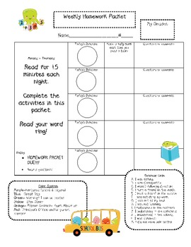 Weekly Homework - A Cover Sheet to Fit Your Needs