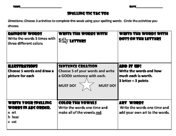 Weekly Homework Activities for Reading and Spelling