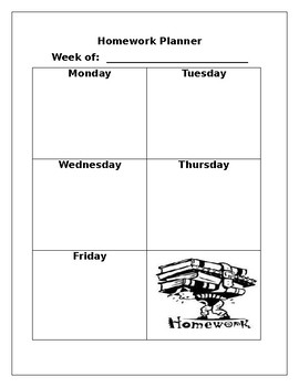 Weekly Homework Agenda