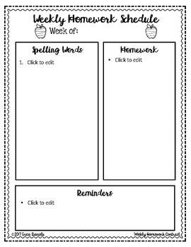 Homework Agenda FULLY EDITABLE