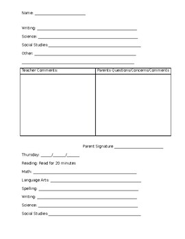 Weekly Homework Agenda Packet