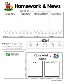 Weekly Homework Agenda and Newsletter