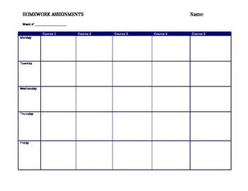 Weekly Homework Assignment Planner Multiple Courses