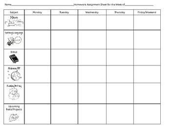 assignment homework sheet